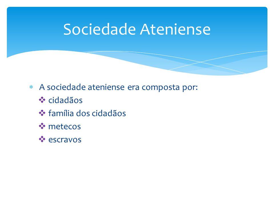 Sociedade Ateniense A sociedade ateniense era composta por: cidadãos