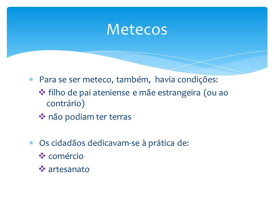 Metecos Para se ser meteco, também, havia condições:
