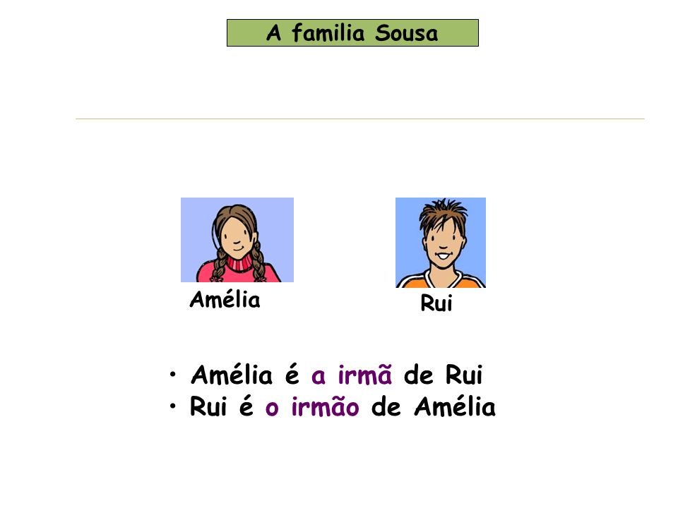 Amélia é a irmã de Rui Rui é o irmão de Amélia A familia Sousa Amélia