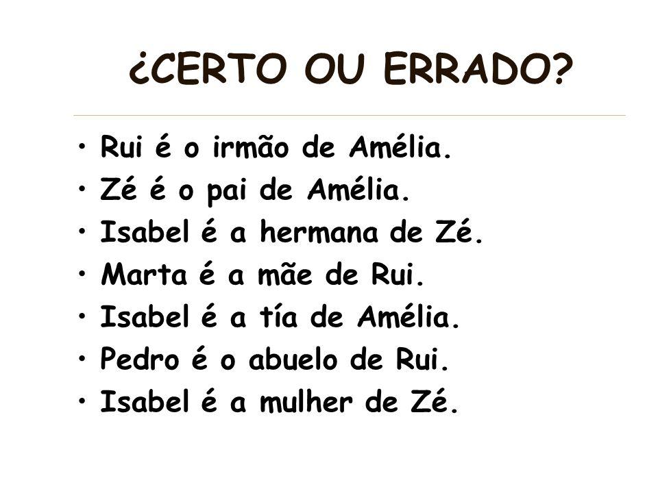 ¿CERTO OU ERRADO Rui é o irmão de Amélia. Zé é o pai de Amélia.