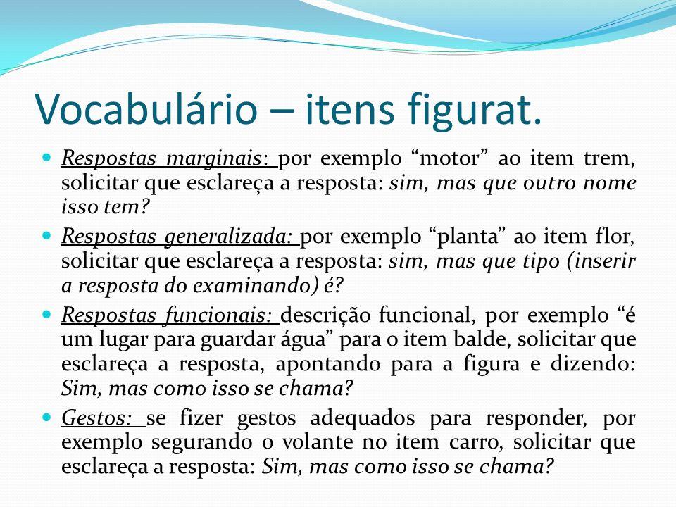 Vocabulário – itens figurat.