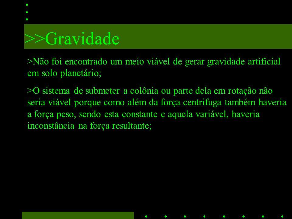 >>Gravidade >Não foi encontrado um meio viável de gerar gravidade artificial em solo planetário;