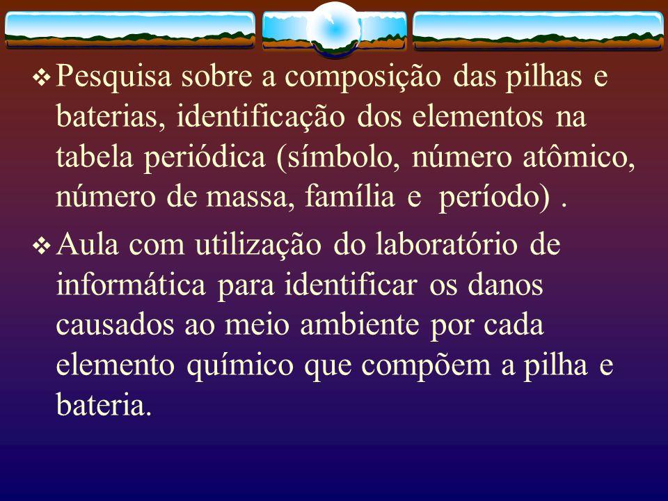 Pesquisa sobre a composição das pilhas e baterias, identificação dos elementos na tabela periódica (símbolo, número atômico, número de massa, família e período) .