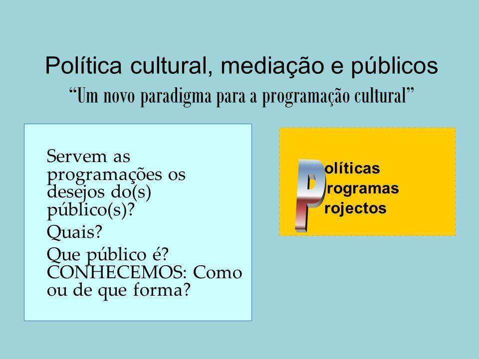 Política cultural, mediação e públicos Um novo paradigma para a programação cultural