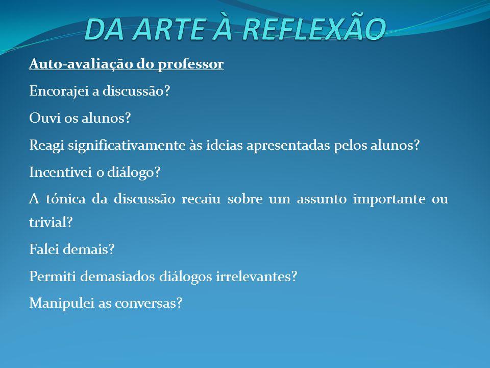 DA ARTE À REFLEXÃO Auto-avaliação do professor Encorajei a discussão