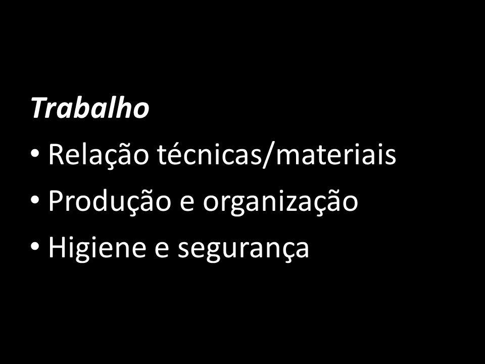 Trabalho Relação técnicas/materiais Produção e organização Higiene e segurança