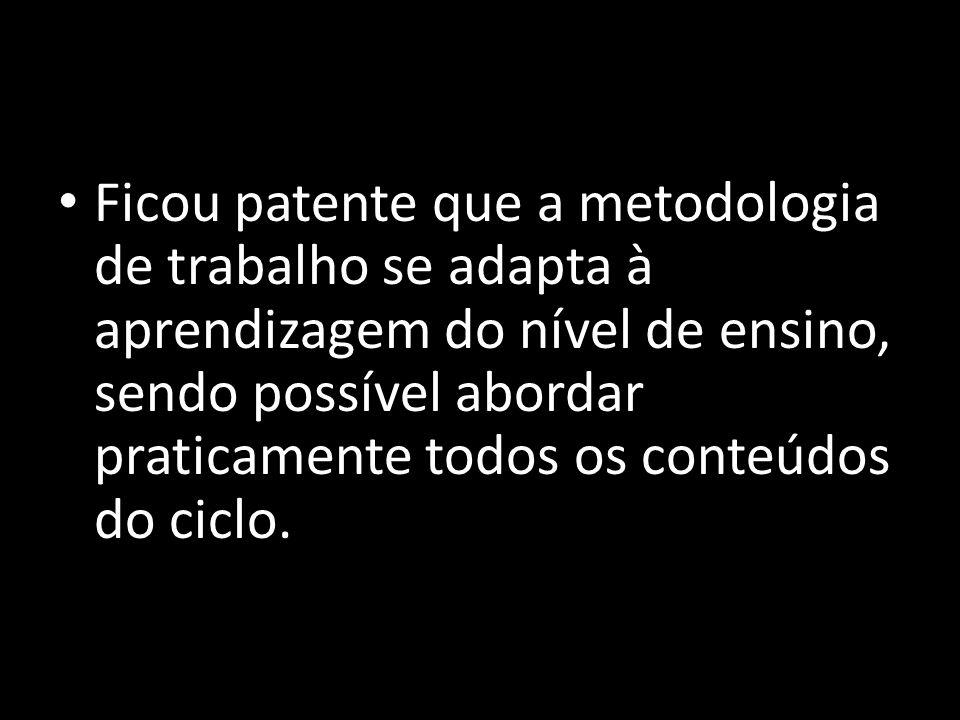 Ficou patente que a metodologia de trabalho se adapta à aprendizagem do nível de ensino, sendo possível abordar praticamente todos os conteúdos do ciclo.