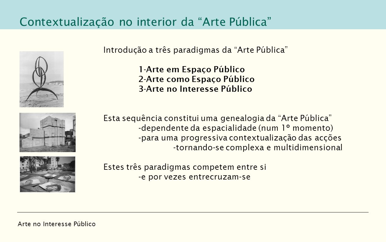 Contextualização no interior da Arte Pública