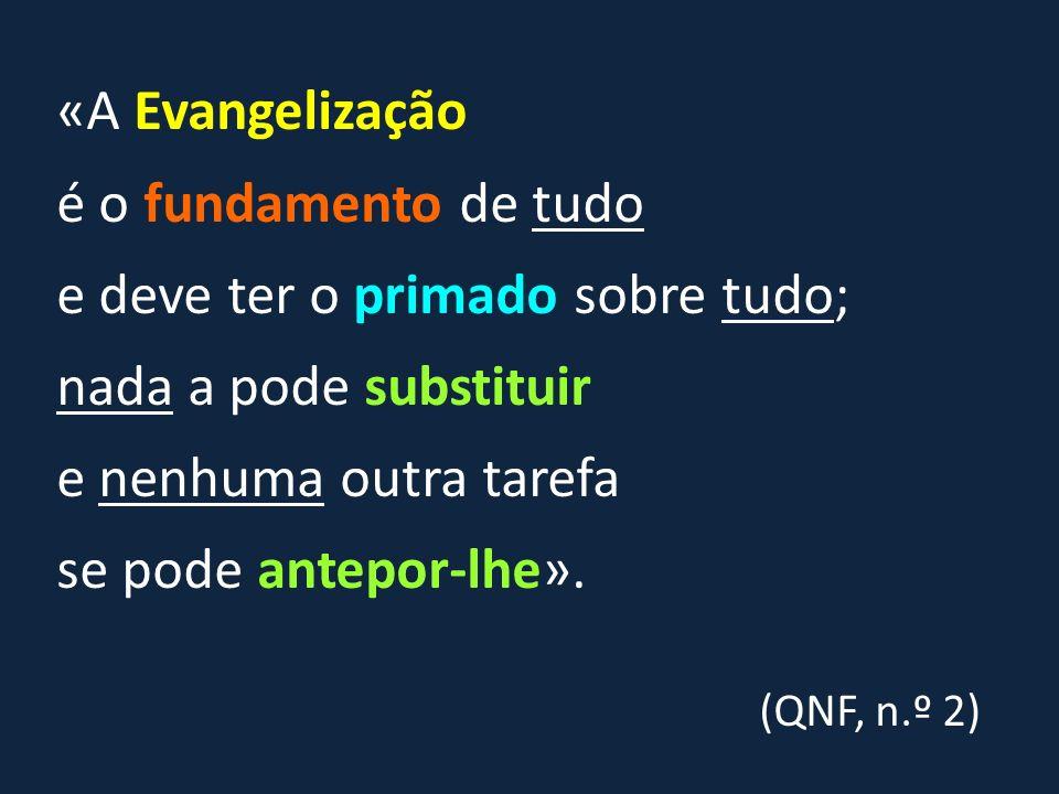 «A Evangelização é o fundamento de tudo e deve ter o primado sobre tudo; nada a pode substituir e nenhuma outra tarefa se pode antepor-lhe».