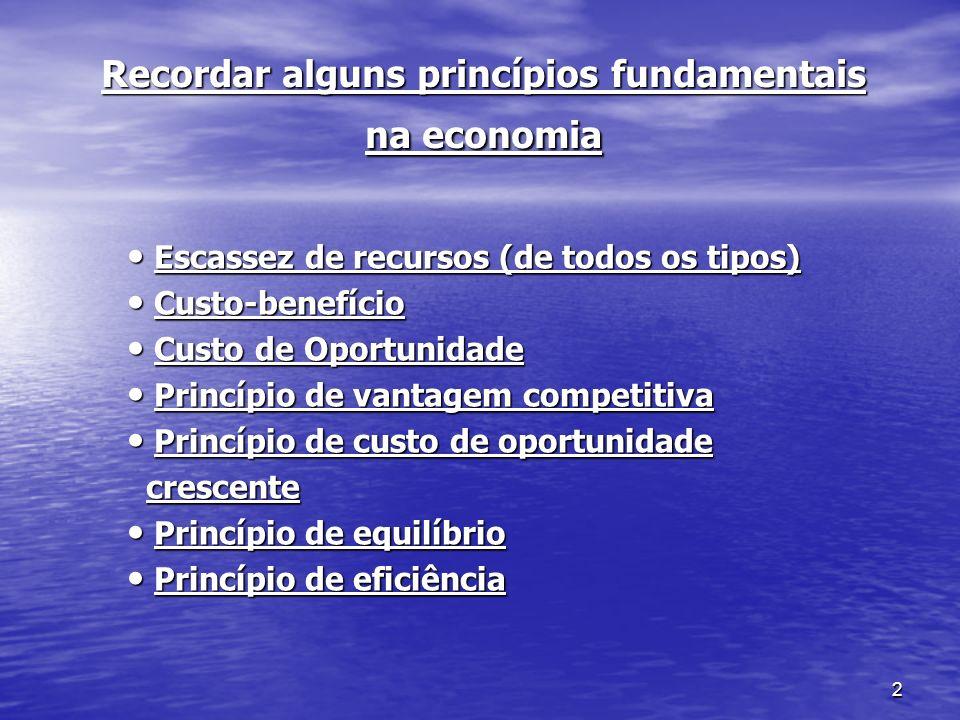 Recordar alguns princípios fundamentais na economia