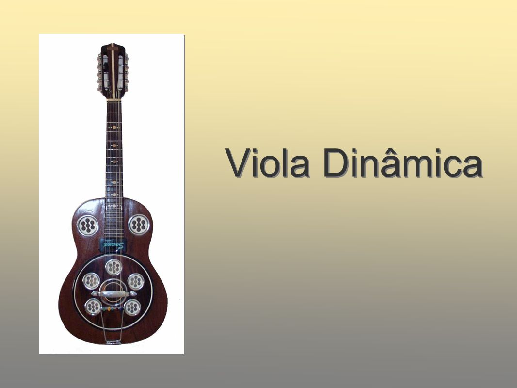 Viola Dinâmica The viola dinâmica is a wooden body viola with internal metal resonating disc to amplify a metallic twang on the instrument.