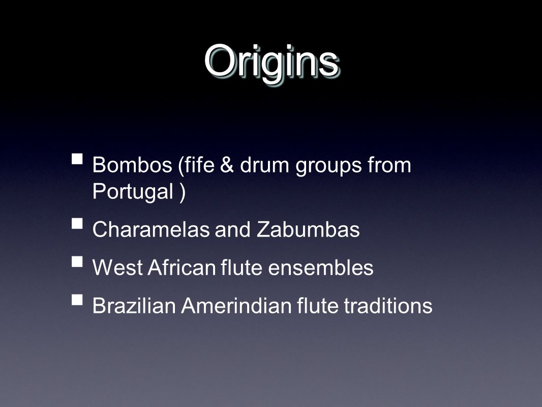 Origins Bombos (fife & drum groups from Portugal )