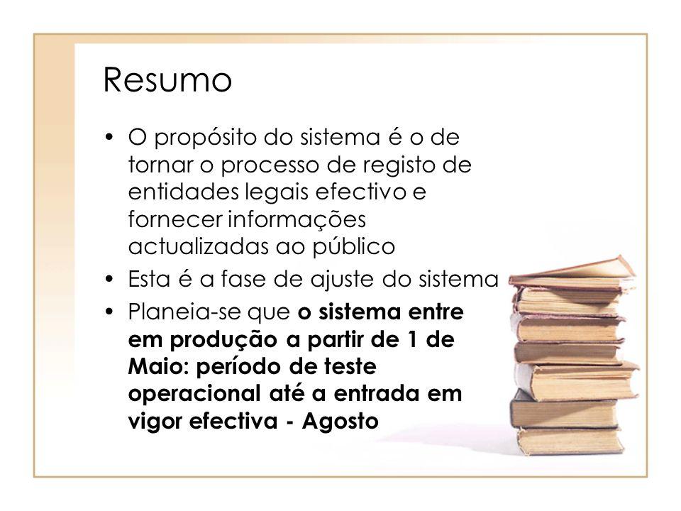 Resumo O propósito do sistema é o de tornar o processo de registo de entidades legais efectivo e fornecer informações actualizadas ao público.
