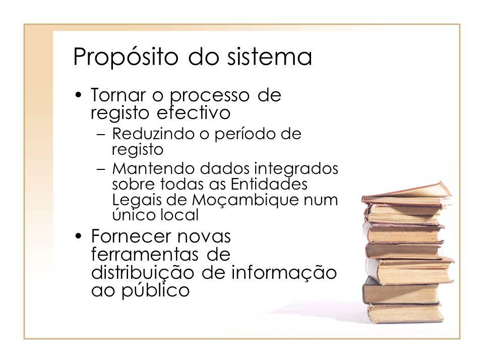 Propósito do sistema Tornar o processo de registo efectivo