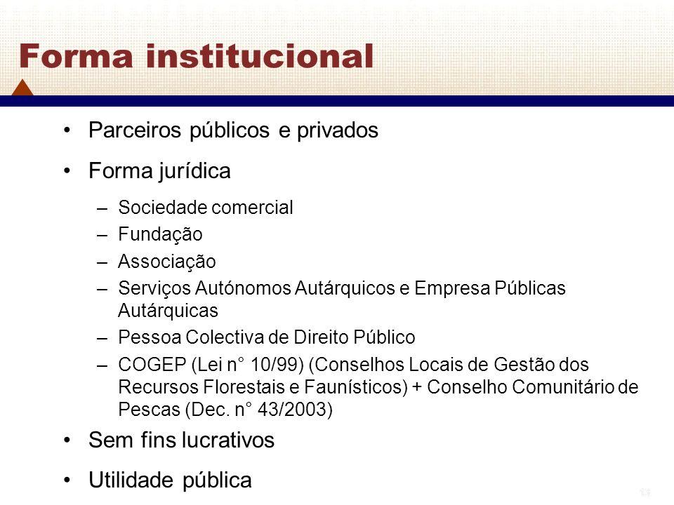 Forma institucional Parceiros públicos e privados Forma jurídica