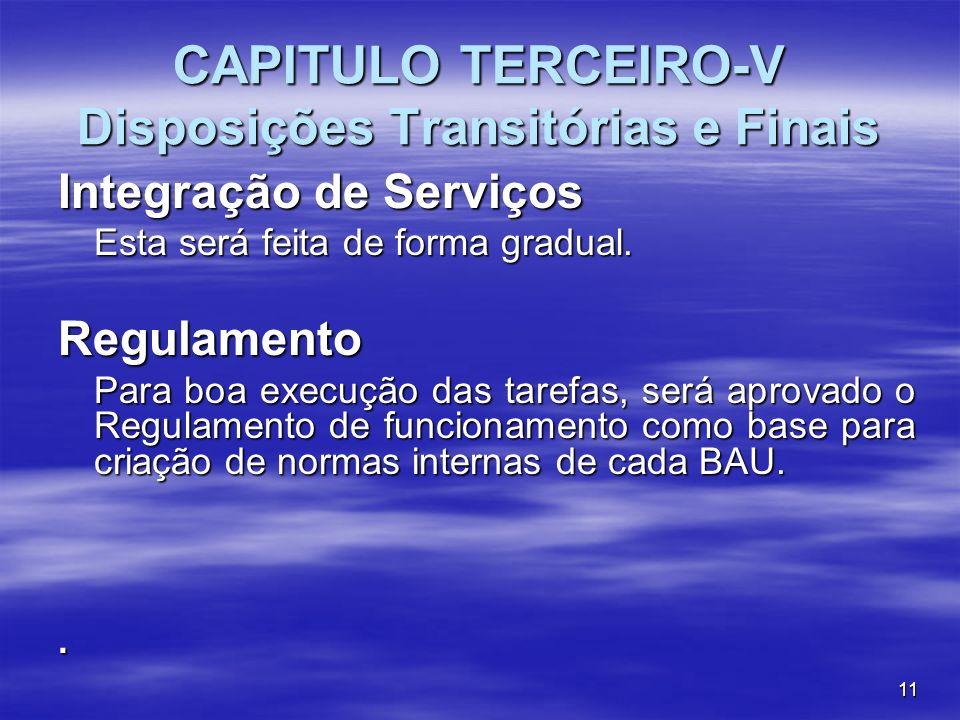 CAPITULO TERCEIRO-V Disposições Transitórias e Finais