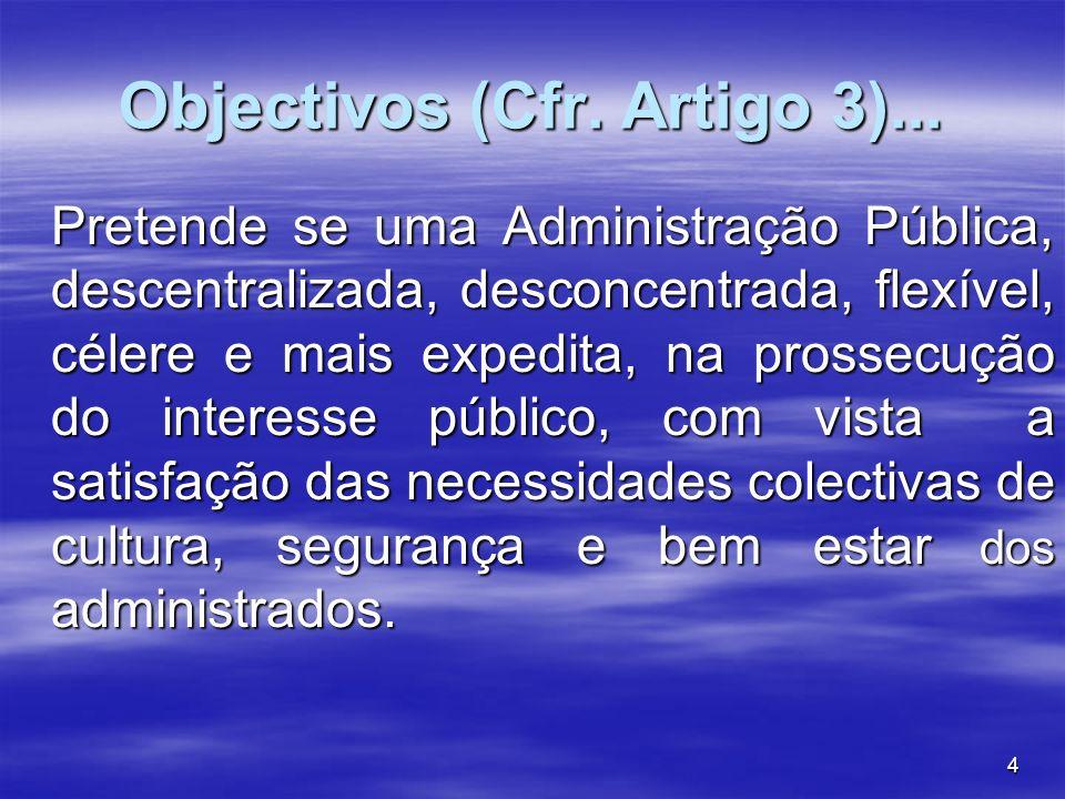 Objectivos (Cfr. Artigo 3)...
