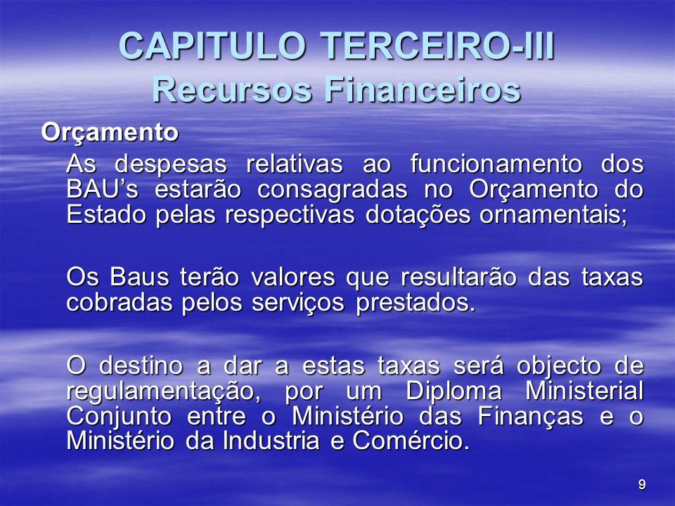 CAPITULO TERCEIRO-III Recursos Financeiros