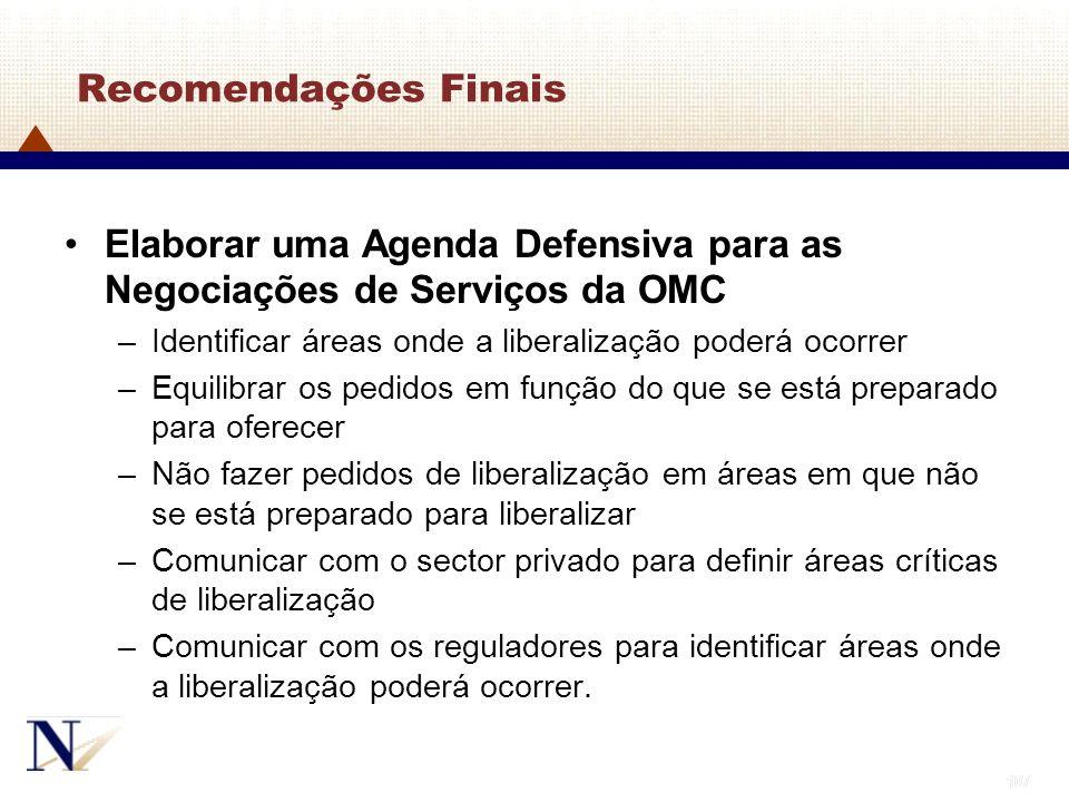 Elaborar uma Agenda Defensiva para as Negociações de Serviços da OMC