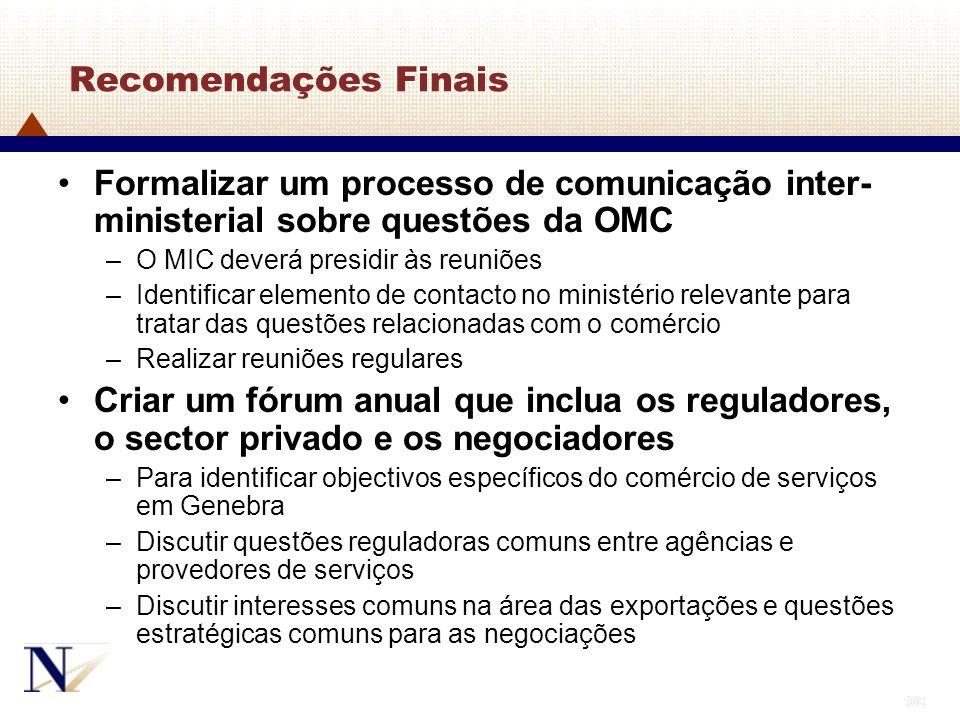 Recomendações Finais Formalizar um processo de comunicação inter-ministerial sobre questões da OMC.
