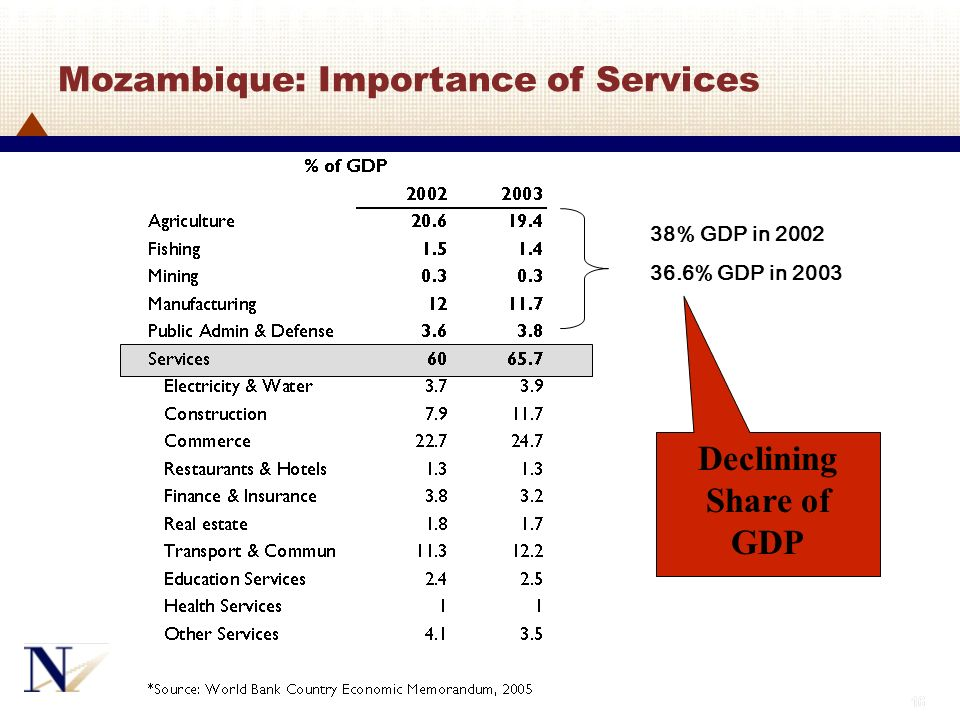 Mozambique: Importance of Services