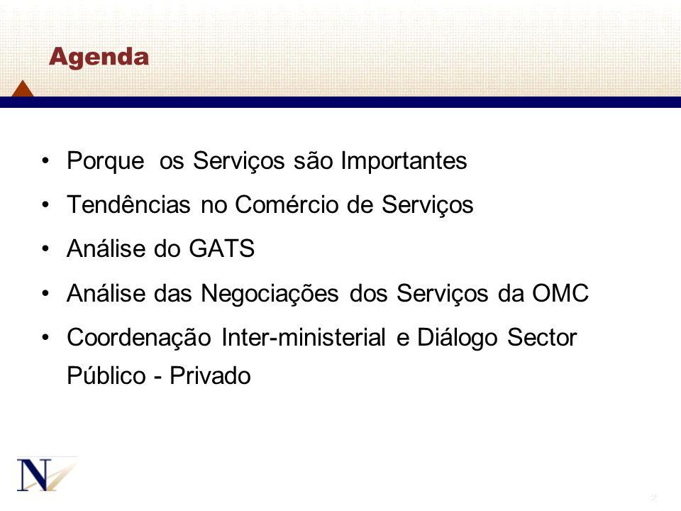 Agenda Porque os Serviços são Importantes. Tendências no Comércio de Serviços. Análise do GATS. Análise das Negociações dos Serviços da OMC.