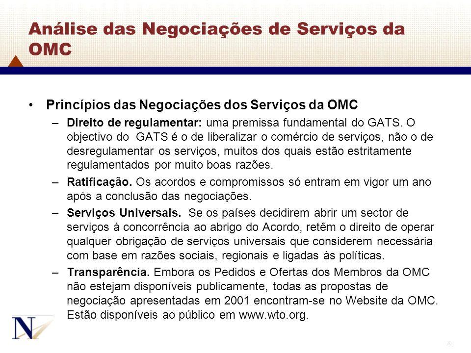 Análise das Negociações de Serviços da OMC