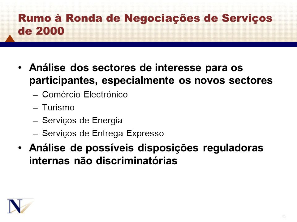 Rumo à Ronda de Negociações de Serviços de 2000