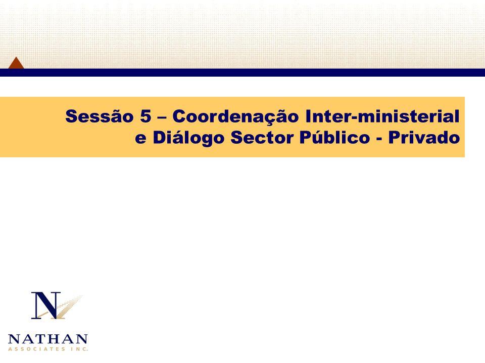 Sessão 5 – Coordenação Inter-ministerial e Diálogo Sector Público - Privado