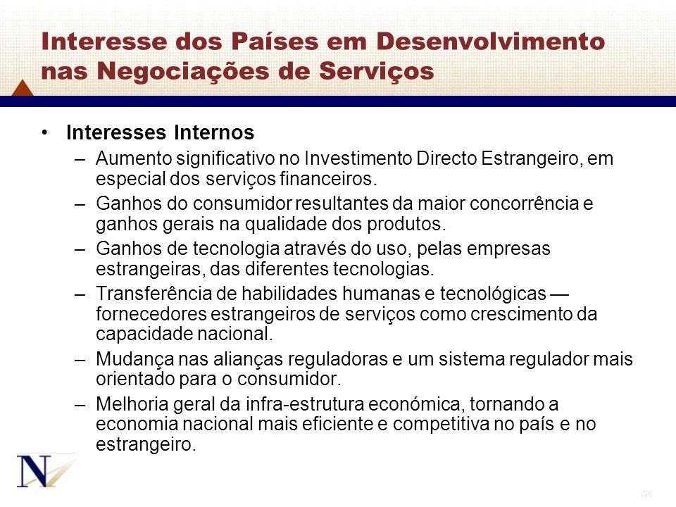 Interesse dos Países em Desenvolvimento nas Negociações de Serviços