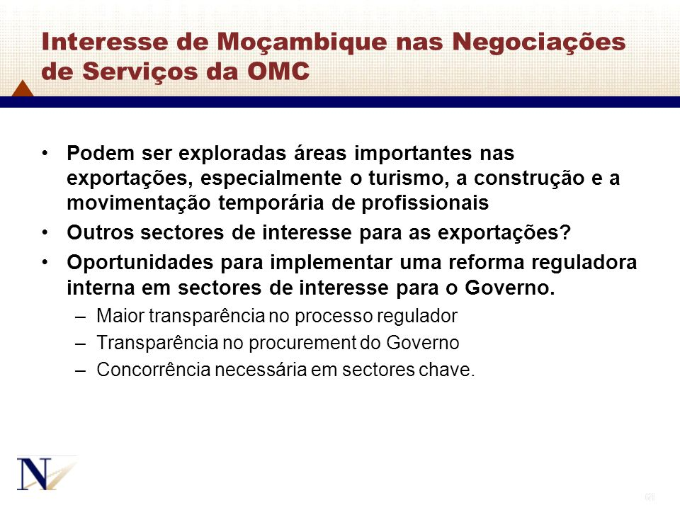 Interesse de Moçambique nas Negociações de Serviços da OMC