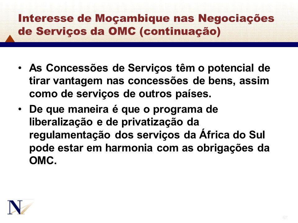 Interesse de Moçambique nas Negociações de Serviços da OMC (continuação)