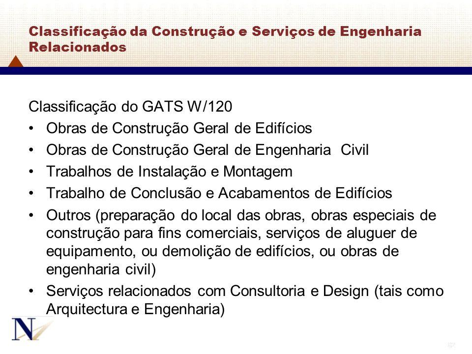 Classificação da Construção e Serviços de Engenharia Relacionados