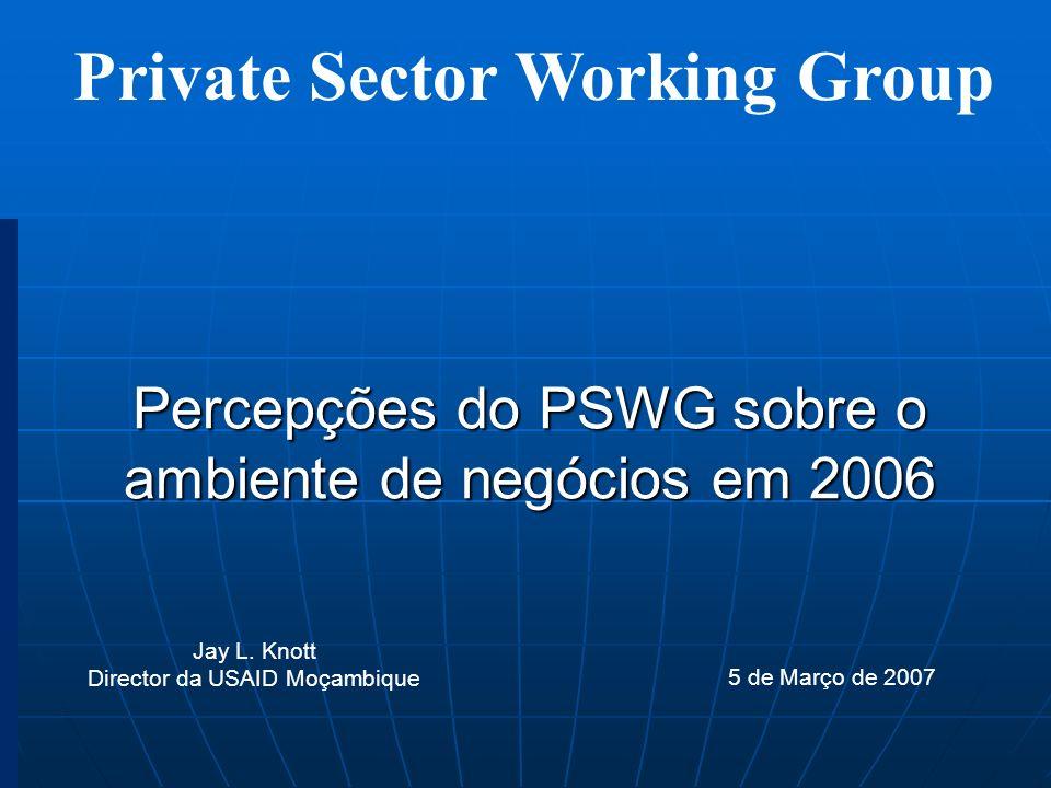 Percepções do PSWG sobre o ambiente de negócios em 2006