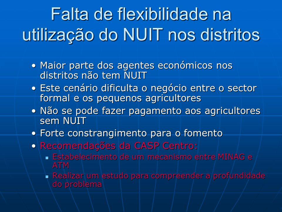 Falta de flexibilidade na utilização do NUIT nos distritos