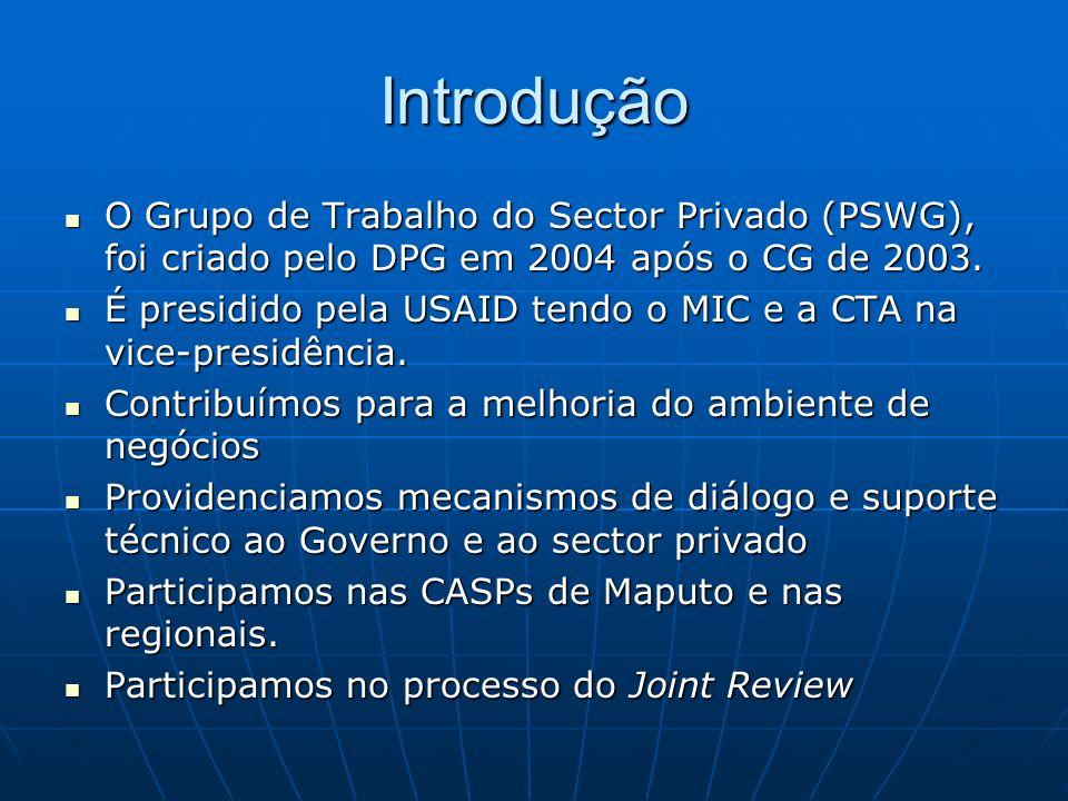 Introdução O Grupo de Trabalho do Sector Privado (PSWG), foi criado pelo DPG em 2004 após o CG de 2003.