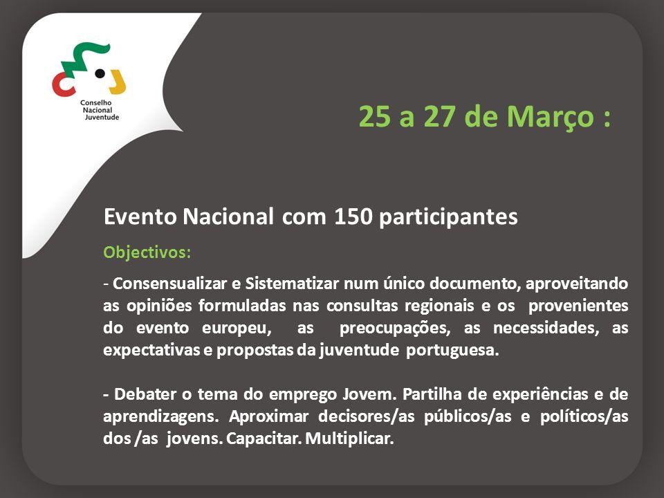 25 a 27 de Março : Evento Nacional com 150 participantes Objectivos: