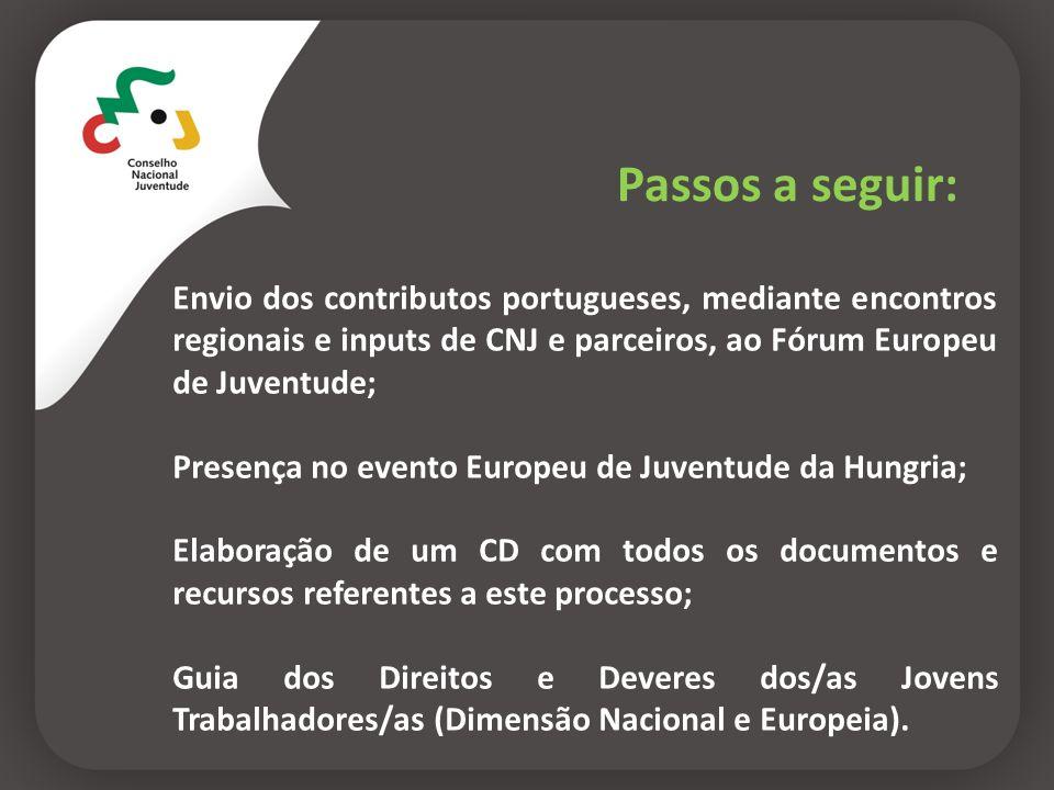 Passos a seguir:Envio dos contributos portugueses, mediante encontros regionais e inputs de CNJ e parceiros, ao Fórum Europeu de Juventude;