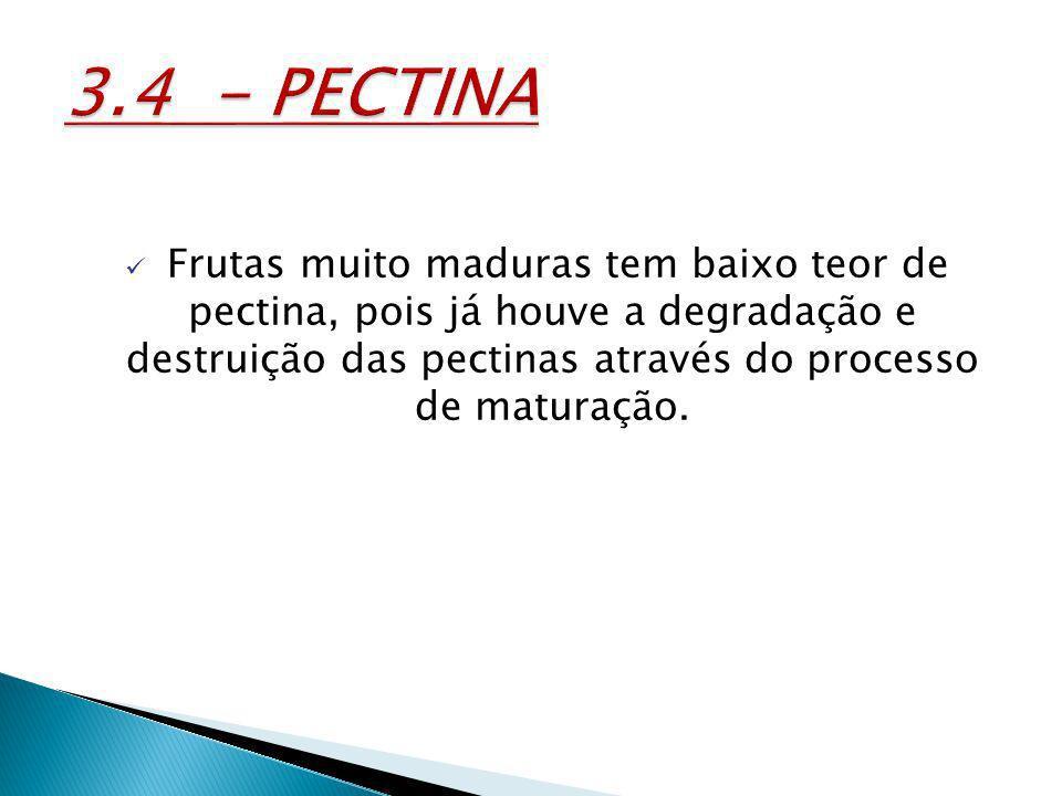 3.4 - PECTINA Frutas muito maduras tem baixo teor de pectina, pois já houve a degradação e destruição das pectinas através do processo de maturação.