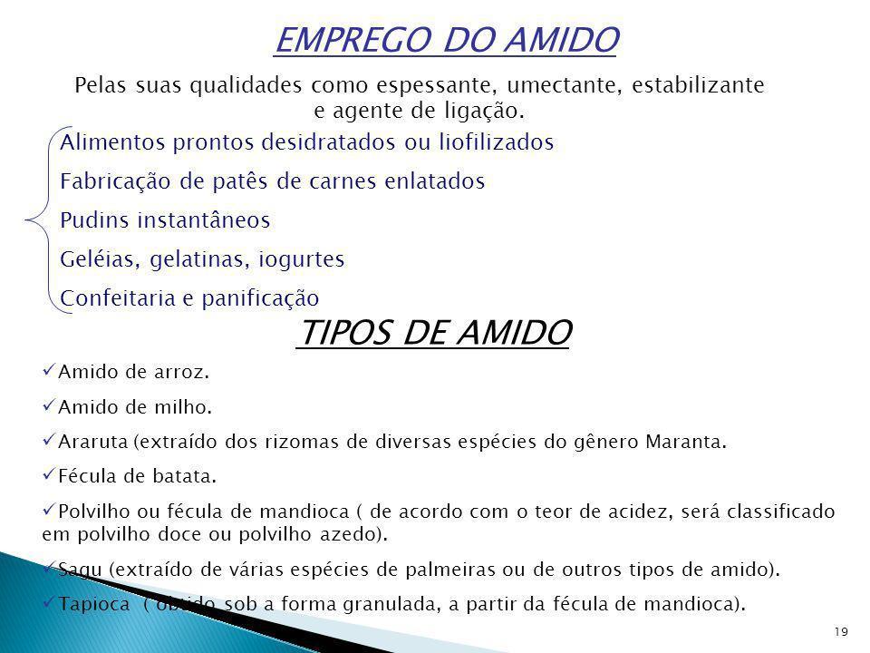 EMPREGO DO AMIDO TIPOS DE AMIDO