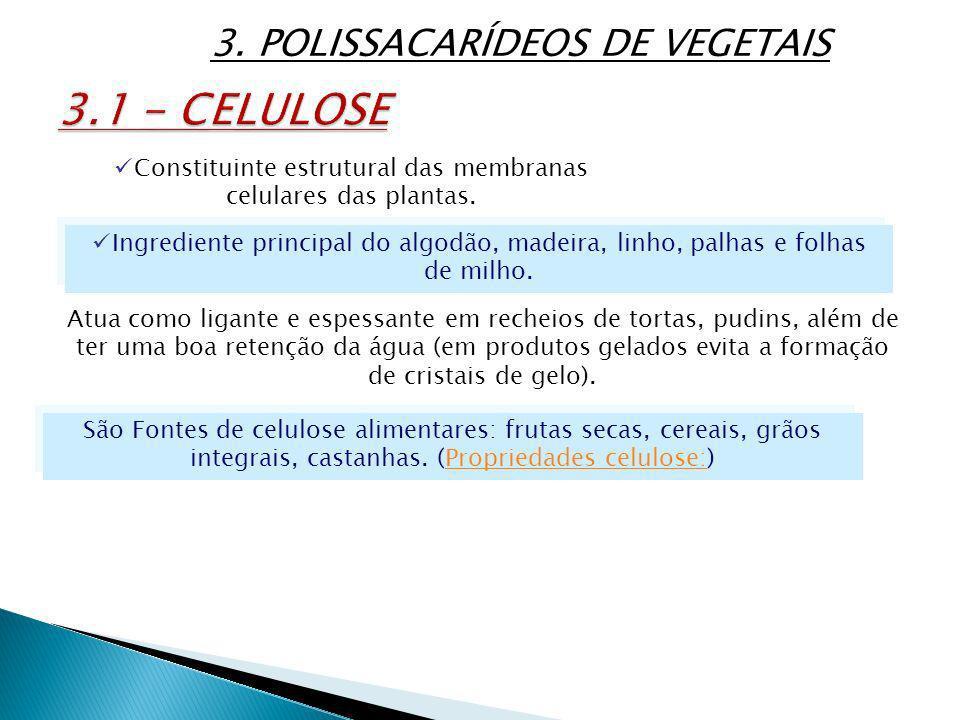 3.1 - CELULOSE 3. POLISSACARÍDEOS DE VEGETAIS