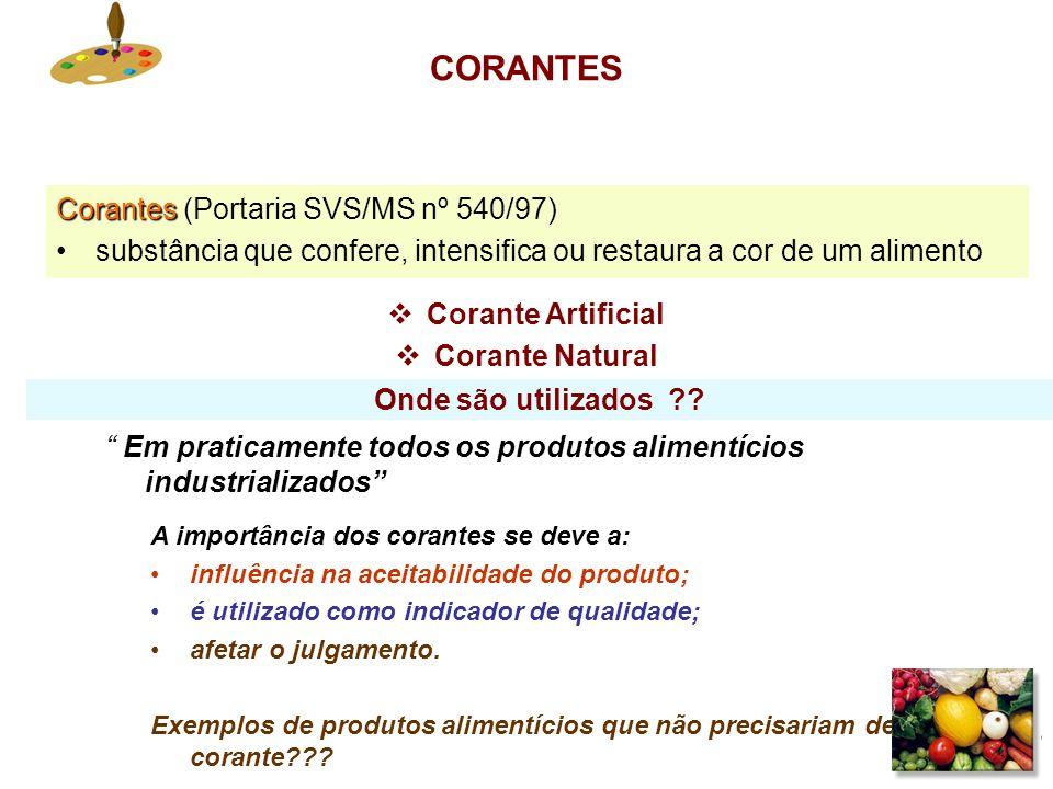 CORANTES Corantes (Portaria SVS/MS nº 540/97)