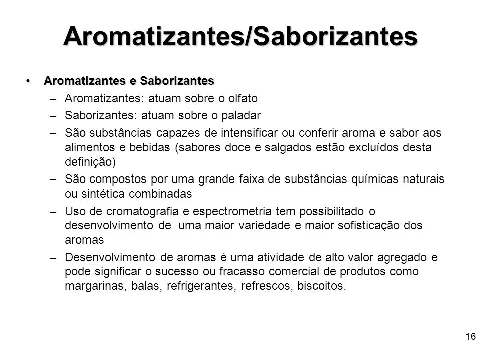 Aromatizantes/Saborizantes