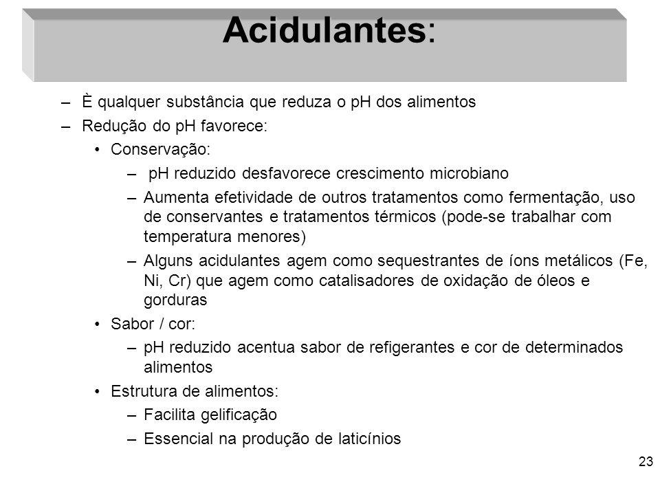Acidulantes: È qualquer substância que reduza o pH dos alimentos