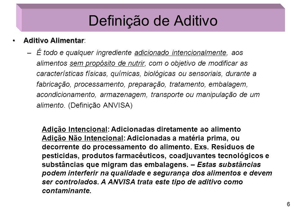 Definição de Aditivo Aditivo Alimentar:
