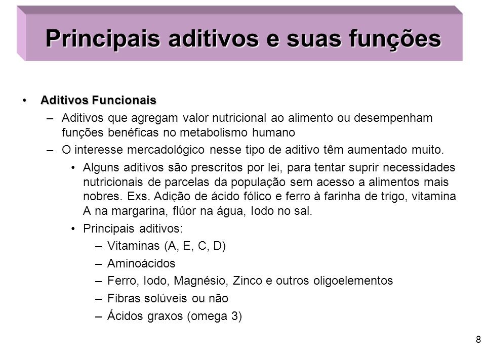 Principais aditivos e suas funções