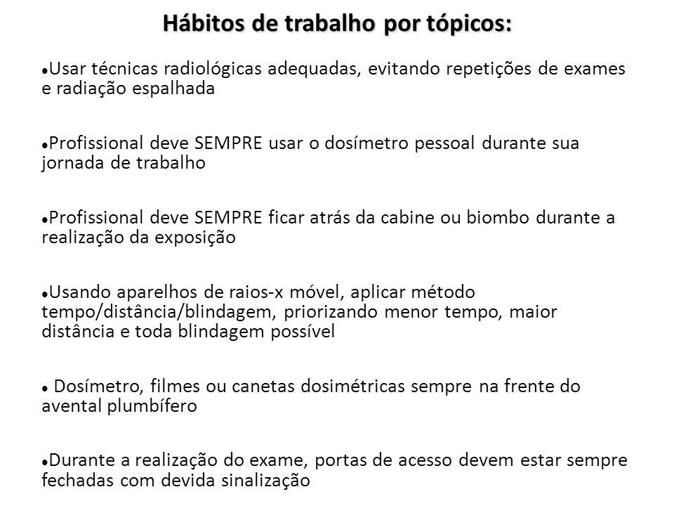 Hábitos de trabalho por tópicos: