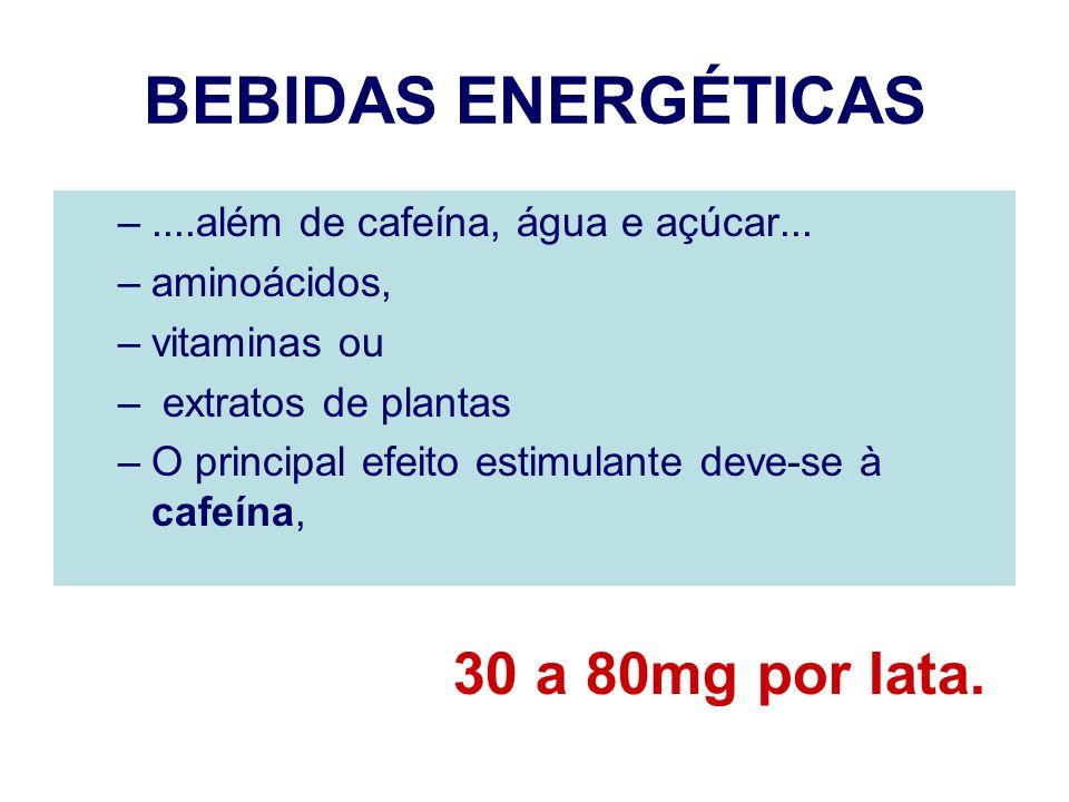 BEBIDAS ENERGÉTICAS 30 a 80mg por lata.