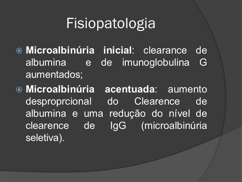 Fisiopatologia Microalbinúria inicial: clearance de albumina e de imunoglobulina G aumentados;