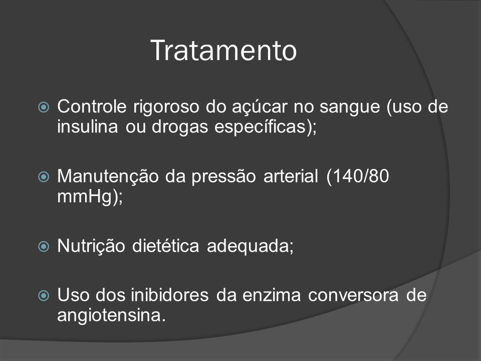 Tratamento Controle rigoroso do açúcar no sangue (uso de insulina ou drogas específicas); Manutenção da pressão arterial (140/80 mmHg);